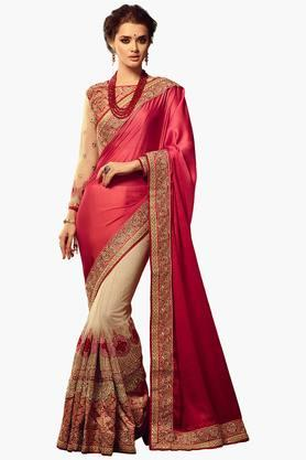 ISHIN Women Shaded Chiffon Embroidered Saree With Brocade Blouse