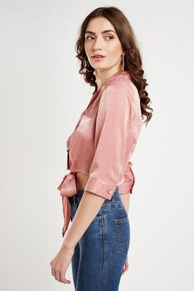 Womens Notched Lapel Solid Tie Up Shirt