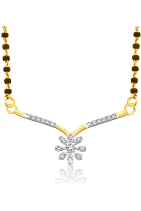 SPARKLES Gold Mangalsutra With Diamond Pendant Set N9401