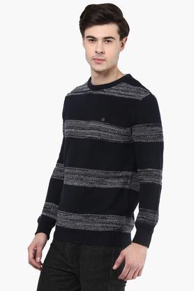 Mens Round Neck Stripe Pullover
