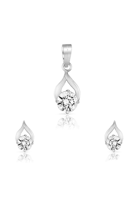 MAHI Mahi Rhodium Plated Delicate Drop Pendant Set Of Brass Alloy Made With Swarovski Zirconia For Women NL1105022R