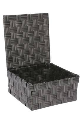 Square Woven Strap Basket with Lid