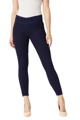 Womens Skinny Fit High Rise Coated Jeggings