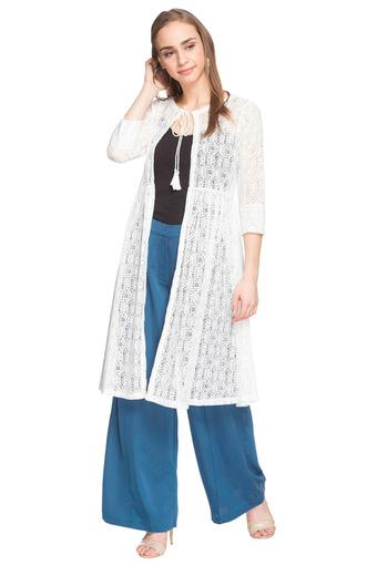 Womens Tie Up Neck Perforated Shrug