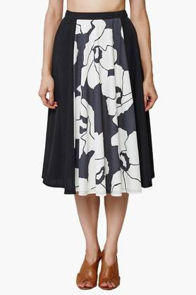 AND Womens Monochrome Floral Midi Skirt