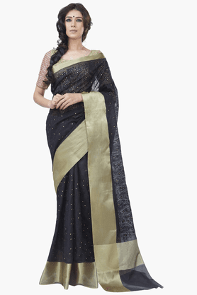 JASHN Womens Embroidered Saree With Blouse Piece - 201313065