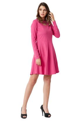 Womens Round Neck Cotton Solid Cut-Out Pearl Detailing Mini Dress