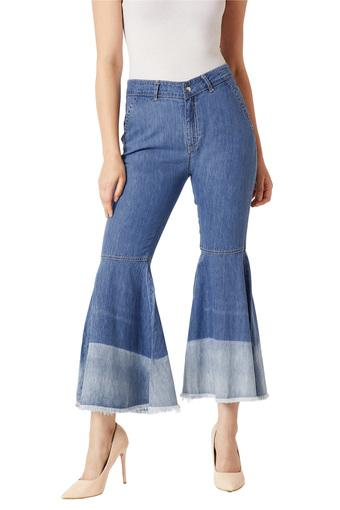 Womens Wide Leg Mid Rise Rinse Wash Jeans