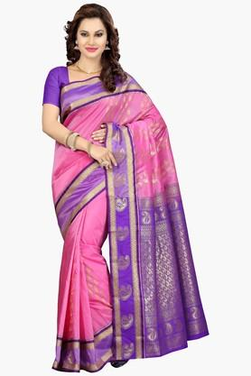 ISHIN Womens Colour Block Golden Weave Saree