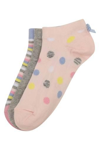 Girls Dot Pattern Striped and Slub Socks - Pack of 3