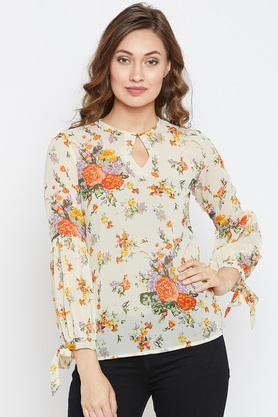 Womens Key Hole Neck Floral Printed Top