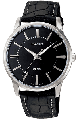 Enticer - Leather Strap Watch with Black Round Dial