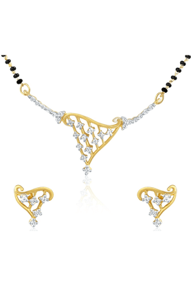 MAHI Gold Plated Mangalsutra Pendant Set With CZ For Women NL1101401G