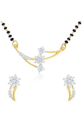 MAHI Gold Plated Mangalsutra Pendant Set With CZ For Women NL1101407G