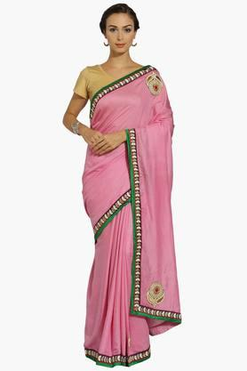 Womens Georgette Self Patterned Appliqued Saree With Blouse Piece
