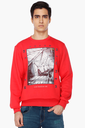 STOP Mens Full Sleeves Regular Fit Printed Sweatshirt