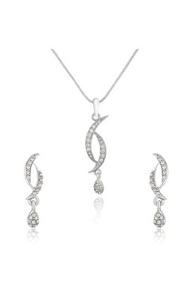 MAHI Mahi Rhodium Plated Curves And Drops Pendant Set With Crystals For Women NL1101771RWhi