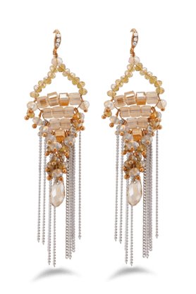 JAZZ Golden Traingle Shaped Earrings With White Coloured Hanging Strings