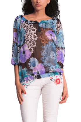 Women Polyester Print Blouse Top