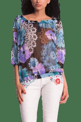 Women Polyester Print Blouse Top