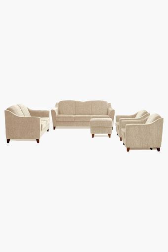 Canvas Beige Fabric Sofa (3-2-1-1 Sofa - 1 Pouf Set)