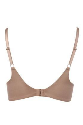Womens Solid Lace Padded Non Wired Plunge Bra