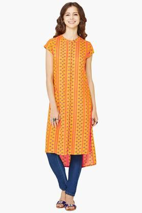GLOBAL DESI Womens Round Neck Printed Kurta - 202216741