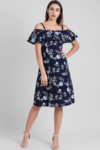 Womens Strappy Neck Floral Printed Shift Dress