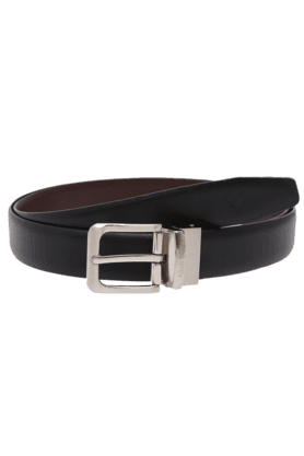 ALLEN SOLLY Mens Black Leather Formal Belt