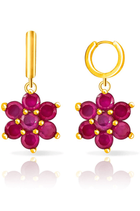 MAHI Mahi Gold Plated Ruby Flowers Earring Made With Ruby For Women ER1103668G