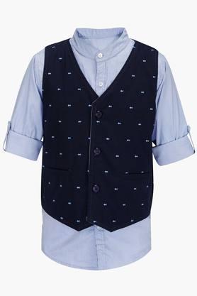 Boys Collared Neck Slub Shirt