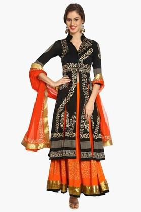 IRA SOLEIL Womens Printed Jacket Skirt And Dupatta Set