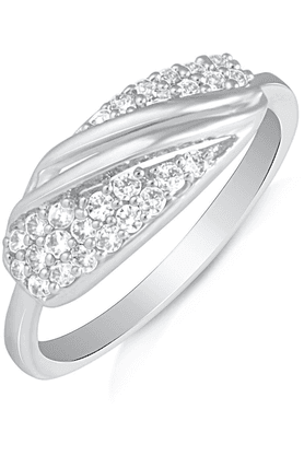 MAHI Mahi Rhodium Plated Blooming Entice Finger Ring With CZ For Women FR1100499R