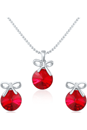 MAHI Rhodium Plated Red Pendant Set Made With Swarovski Elements For Women NL1104080RRe