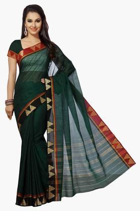 ISHIN Women Poly Cotton Woven Saree