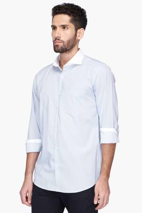 Mens Slim Fit Cutaway Collar Herringbone Shirt