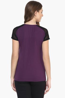 Womens Colour Block Sheer Short Sleeve Top