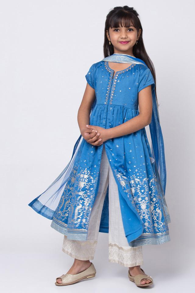 BIBA GIRLS - BlueSalwar Kurta Set - Main