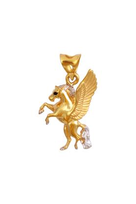 Womens Yellow Gold Winged Horse Charm Pendant GLTD15034269