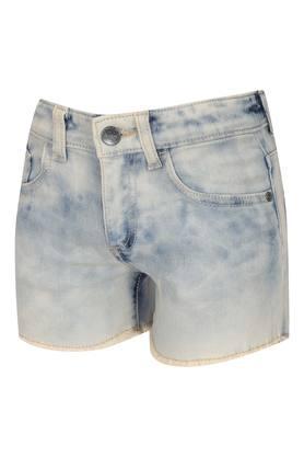 Girls 5 Pocket Acid Wash Shorts