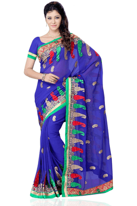 DEMARCA De Marca Blue Georgette Designer DF-441C Saree