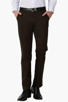 PETER ENGLAND Mens Slim Fit 4 Pocket Solid Formal Trousers  ... - 202203333