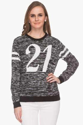 LIFE Womens Round Neck Printed Pullover