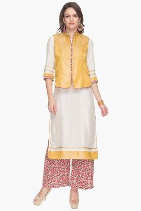 AURELIA Womens Printed Kurta, Palazzos And Koti Set  ...