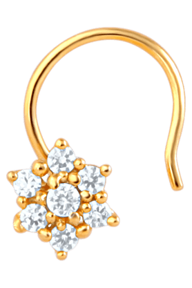 Mahi Gold Plated Daisy Bloom Nose Rings with CZ Stones for Women NR1100124G