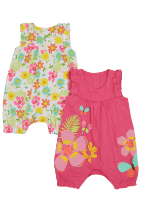 MOTHERCARE Girls Cotton Printed Rompers Pack Of 2