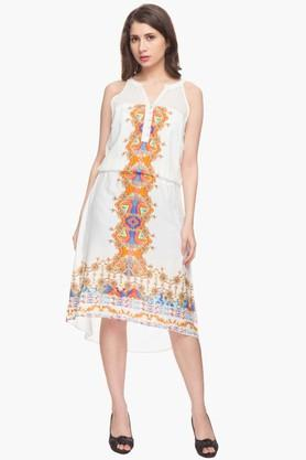 IMARA Womens Mandarin Neck Printed High Low Dress