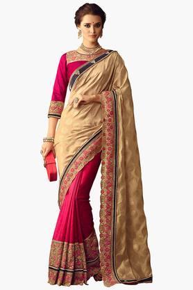 ISHINWomen Woven Silk Embroidered Saree