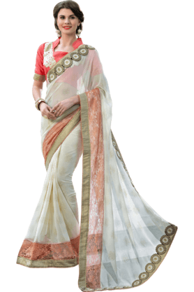 DEMARCA Womens Embroidered Saree (Buy Any Demarca Product & Get A Pair Of Matching Earrings Free) - 200947072