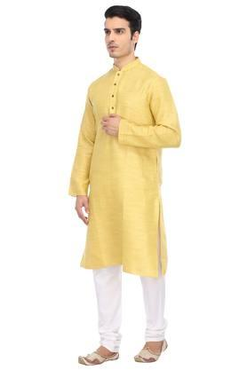 Mens Mandarin Collar Slub Kurta and Pyjamas Set